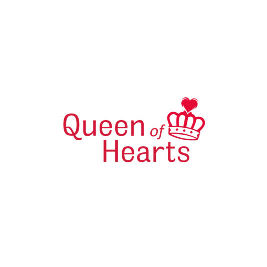 queen of hearts logo con corona rosada